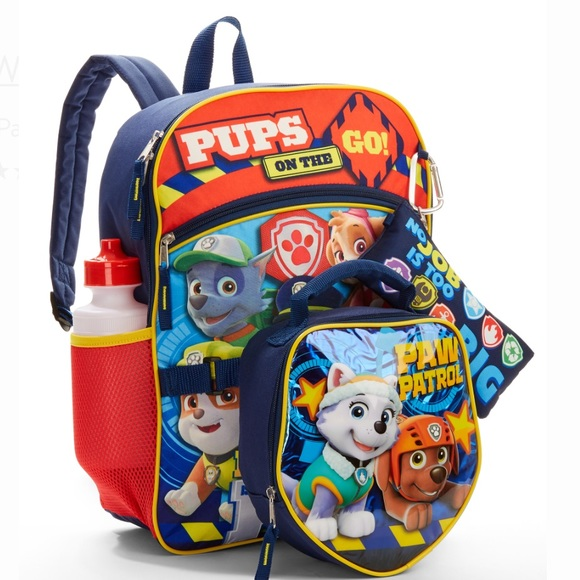 5 P Set PAW PATROL Backpack Lunch Box Water Bottle